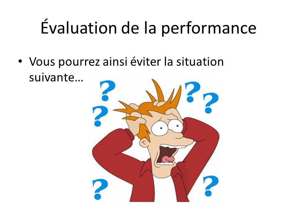 Plan de présentation Évaluation du rendement Évaluation avec la volatilité Évaluation par ratios comparatifs Période dévaluation requise pour une stratégie donnée