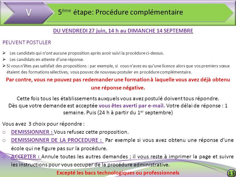 V V 5 ème étape: Procédure complémentaire DU VENDREDI 27 juin, 14 h au DIMANCHE 14 SEPTEMBRE PEUVENT POSTULER Les candidats qui nont aucune propositio