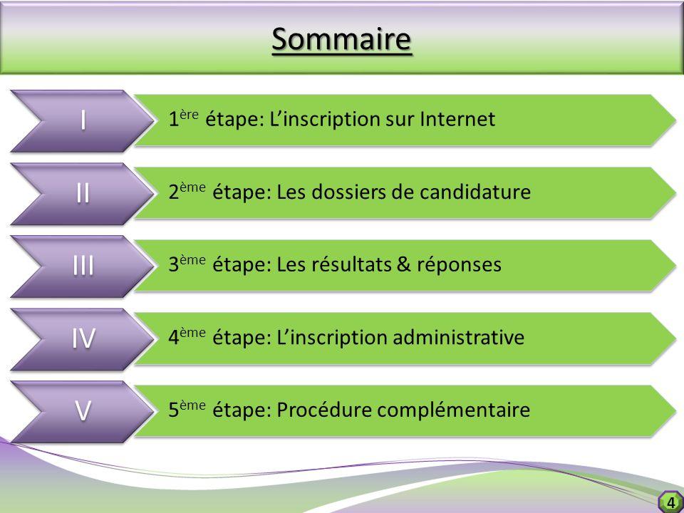 4Sommaire I I 1 ère étape: Linscription sur Internet II 2 ème étape: Les dossiers de candidature III 3 ème étape: Les résultats & réponses IV 4 ème ét