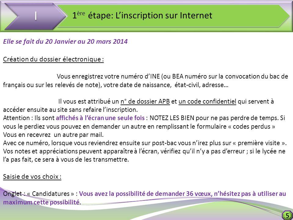 5 I I 1 ère étape: Linscription sur Internet Elle se fait du 20 Janvier au 20 mars 2014 Création du dossier électronique : Vous enregistrez votre numé