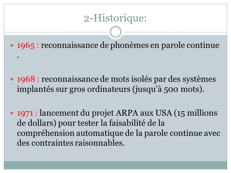 2-Historique: 1965 : reconnaissance de phonèmes en parole continue.