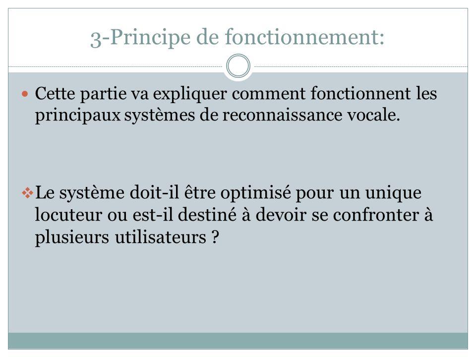 3-Principe de fonctionnement: Cette partie va expliquer comment fonctionnent les principaux systèmes de reconnaissance vocale.