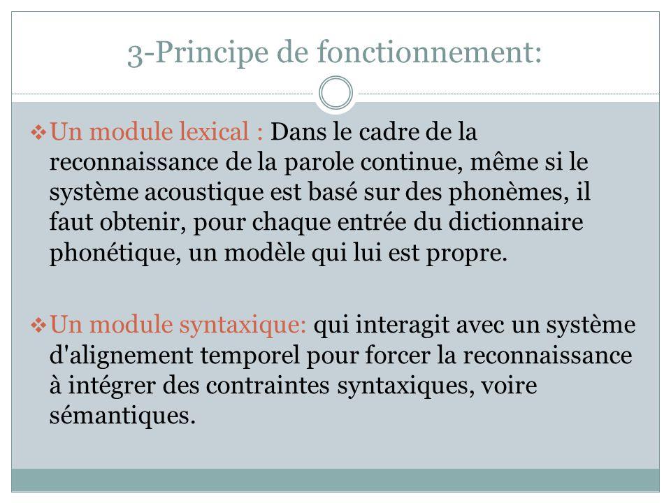 3-Principe de fonctionnement: Un module lexical : Dans le cadre de la reconnaissance de la parole continue, même si le système acoustique est basé sur des phonèmes, il faut obtenir, pour chaque entrée du dictionnaire phonétique, un modèle qui lui est propre.