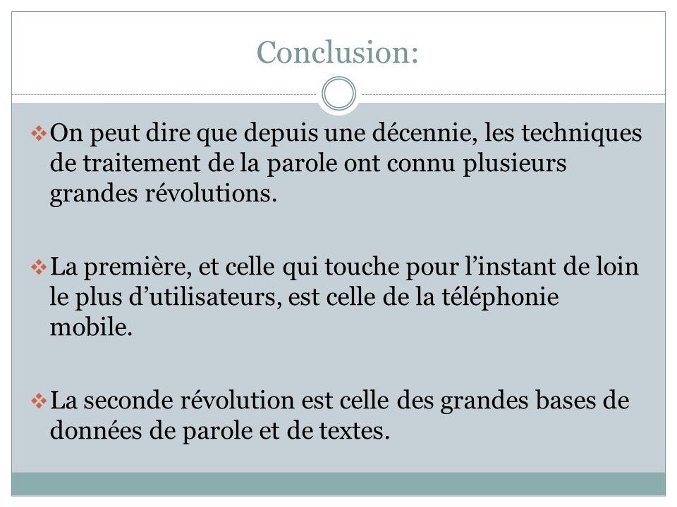 Conclusion: On peut dire que depuis une décennie, les techniques de traitement de la parole ont connu plusieurs grandes révolutions.