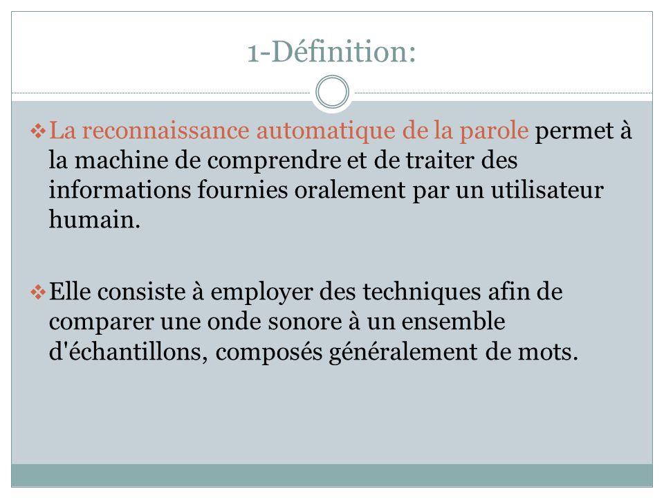 1-Définition: La reconnaissance automatique de la parole permet à la machine de comprendre et de traiter des informations fournies oralement par un utilisateur humain.