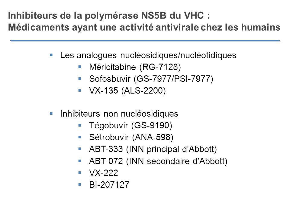 M Inhibiteurs de la polymérase NS5B du VHC : Médicaments ayant une activité antivirale chez les humains Les analogues nucléosidiques/nucléotidiques Mé