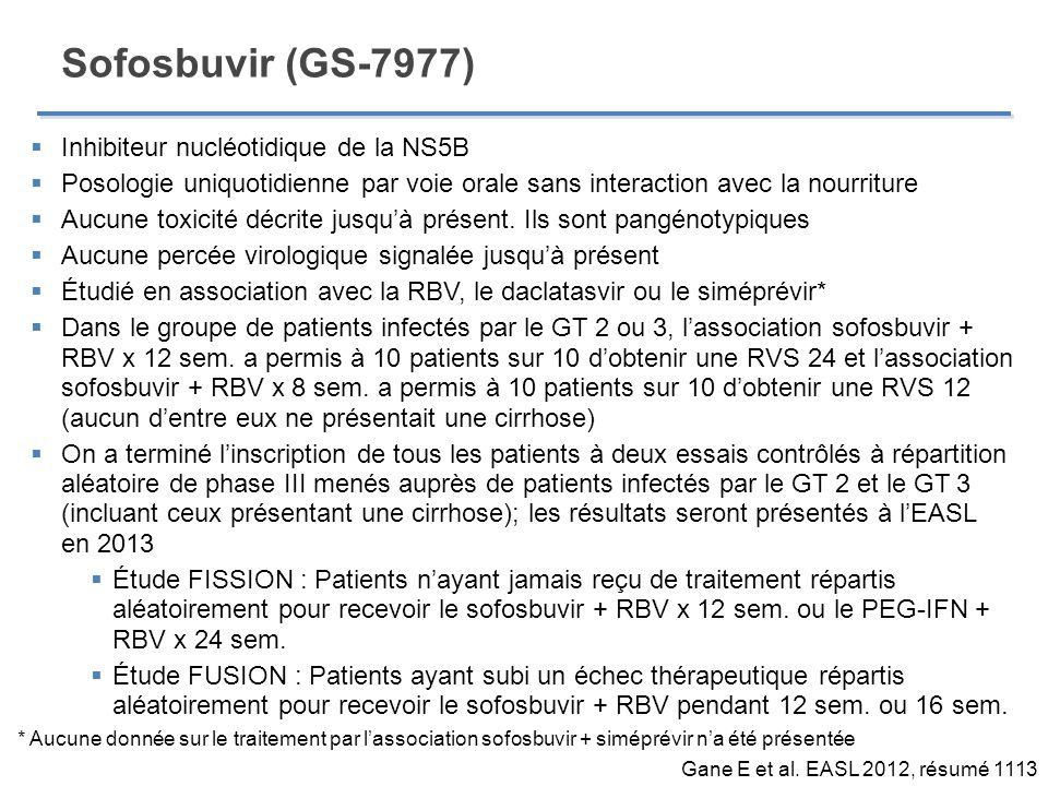 Sofosbuvir (GS-7977) Gane E et al. EASL 2012, résumé 1113 Inhibiteur nucléotidique de la NS5B Posologie uniquotidienne par voie orale sans interaction