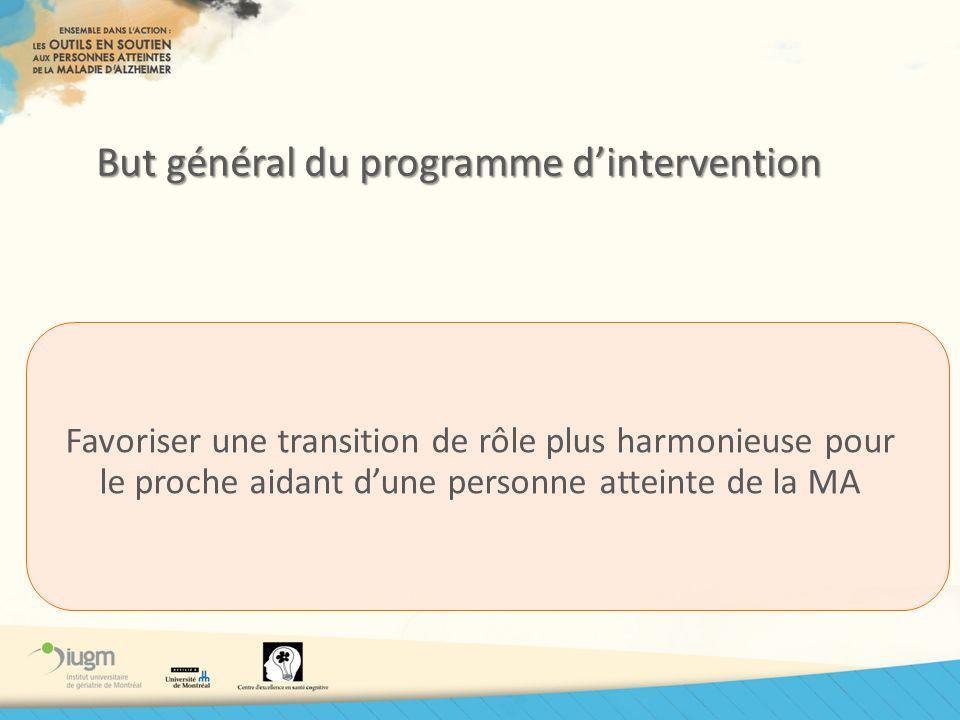 But général du programme dintervention Favoriser une transition de rôle plus harmonieuse pour le proche aidant dune personne atteinte de la MA