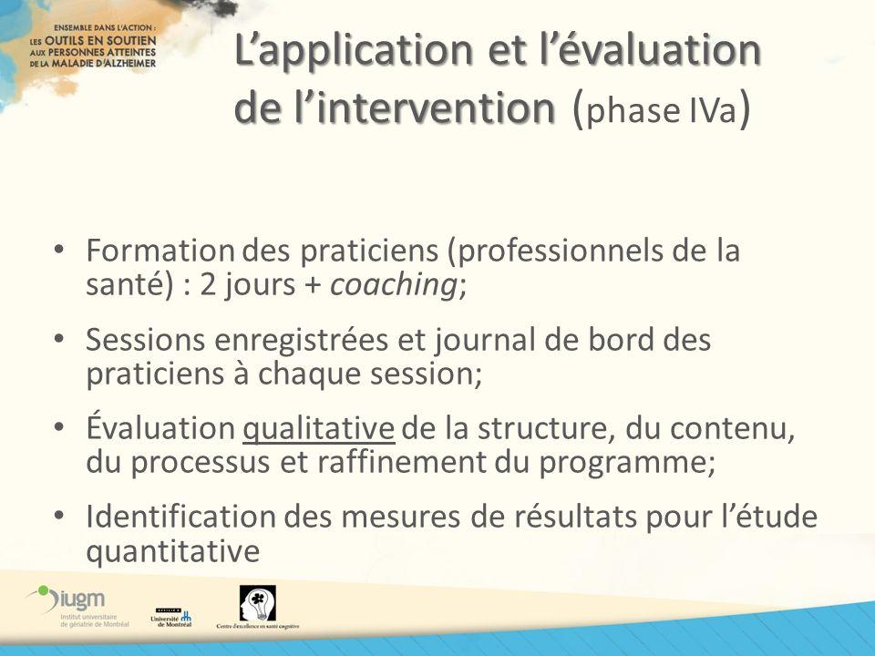 Lapplication et lévaluation de lintervention Lapplication et lévaluation de lintervention ( phase IVa ) Formation des praticiens (professionnels de la