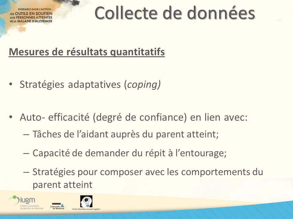 Collecte de données Mesures de résultats quantitatifs Stratégies adaptatives (coping) Auto- efficacité (degré de confiance) en lien avec: – Tâches de