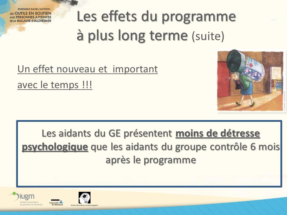Les effets du programme à plus long terme Les effets du programme à plus long terme (suite) Un effet nouveau et important avec le temps !!! Les aidant