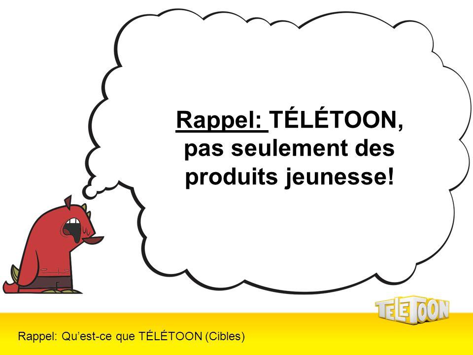 Rappel: Quest-ce que TÉLÉTOON (Cibles) Rappel: TÉLÉTOON, pas seulement des produits jeunesse!