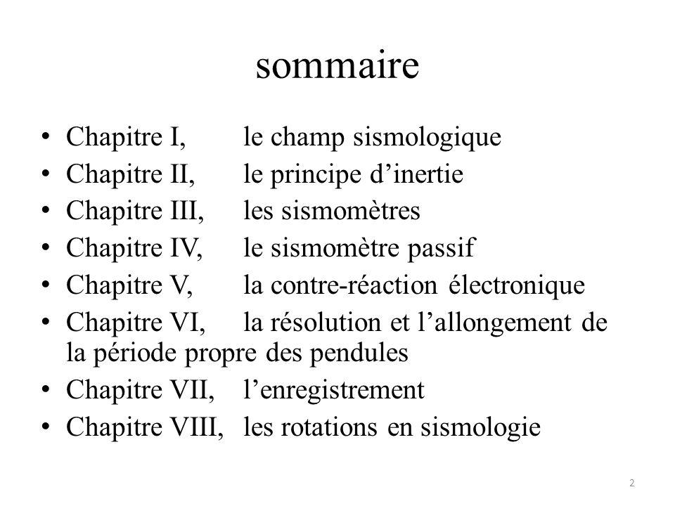 sommaire Chapitre I,le champ sismologique Chapitre II,le principe dinertie Chapitre III,les sismomètres Chapitre IV,le sismomètre passif Chapitre V,la