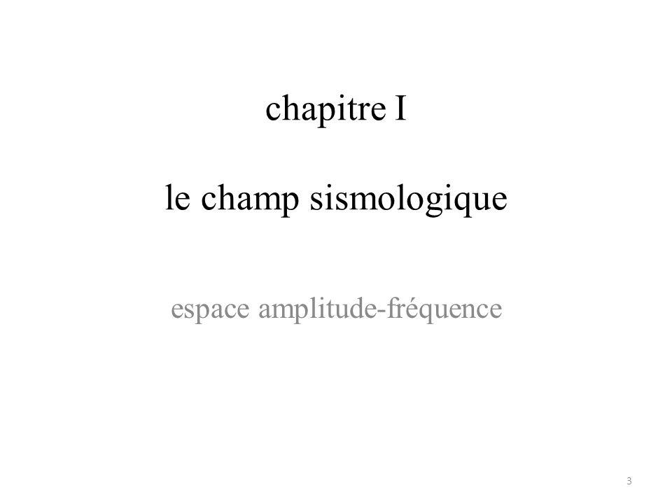 chapitre I le champ sismologique 3 espace amplitude-fréquence