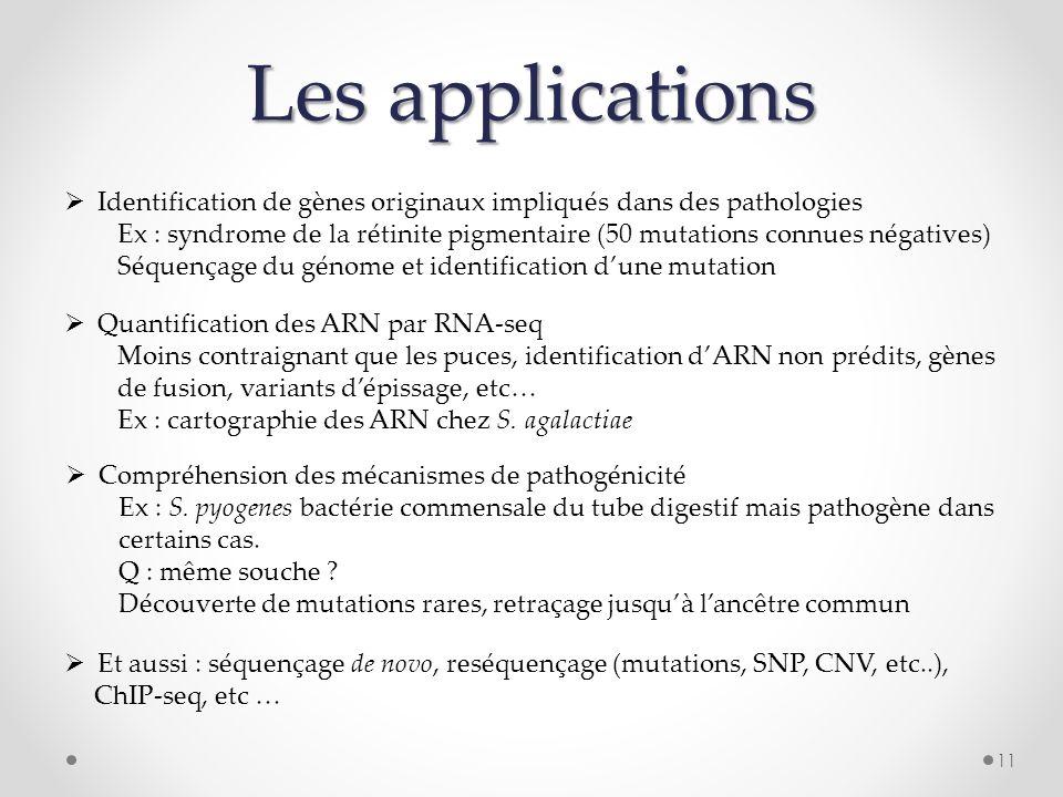11 Les applications Identification de gènes originaux impliqués dans des pathologies Ex : syndrome de la rétinite pigmentaire (50 mutations connues né