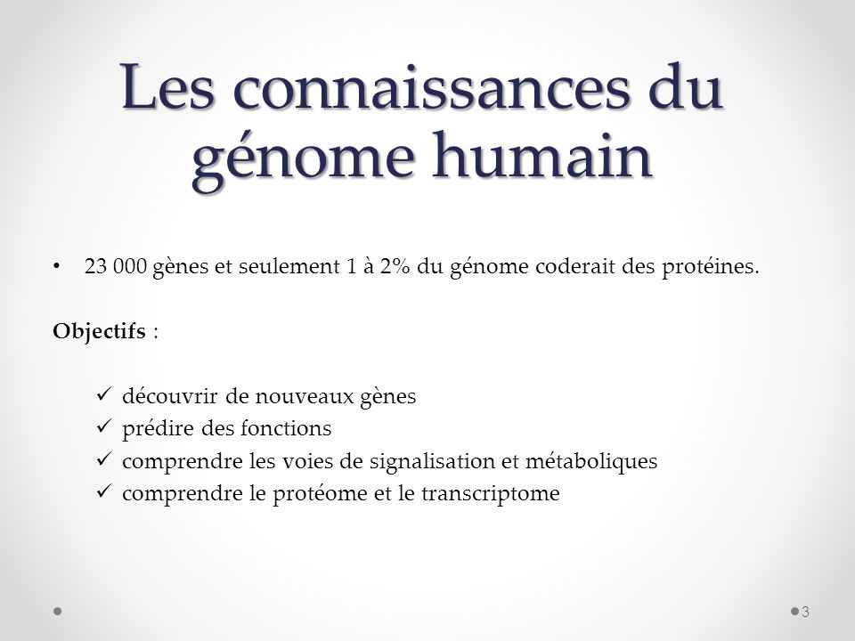 Les connaissances du génome humain 23 000 gènes et seulement 1 à 2% du génome coderait des protéines. Objectifs : découvrir de nouveaux gènes prédire