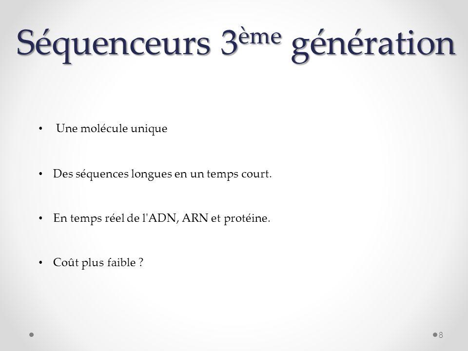 Séquenceurs 3 ème génération Une molécule unique 8 En temps réel de l'ADN, ARN et protéine. Des séquences longues en un temps court. Coût plus faible