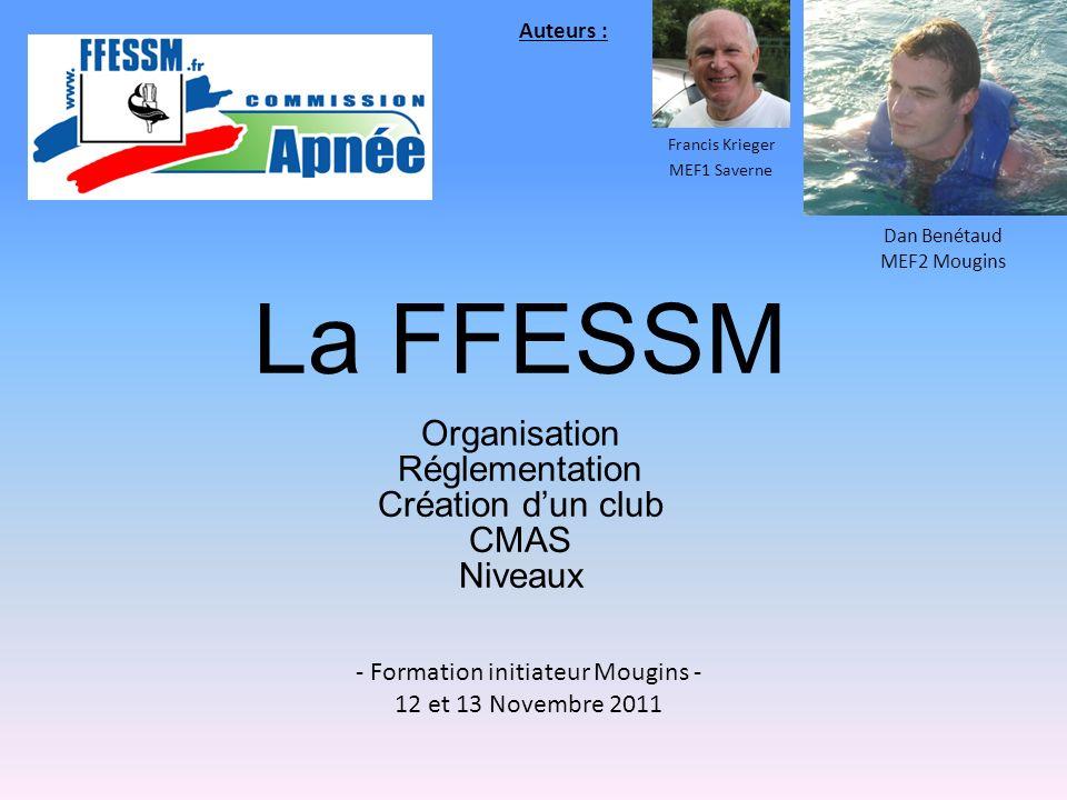 La FFESSM Organisation Réglementation Création dun club CMAS Niveaux - Formation initiateur Mougins - 12 et 13 Novembre 2011 Francis Krieger MEF1 Save