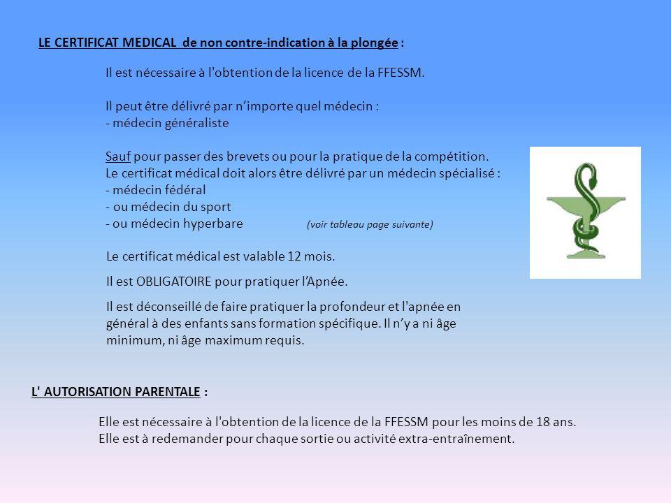 LE CERTIFICAT MEDICAL de non contre-indication à la plongée : Il est nécessaire à l obtention de la licence de la FFESSM.