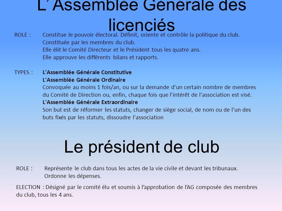 Le président de club ROLE :Représente le club dans tous les actes de la vie civile et devant les tribunaux. Ordonne les dépenses. ELECTION : Désigné p