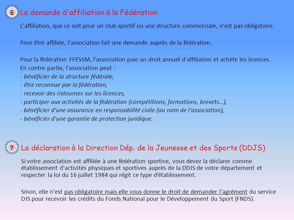 La demande d affiliation à la Fédération L affiliation, que ce soit pour un club sportif ou une structure commerciale, n est pas obligatoire.