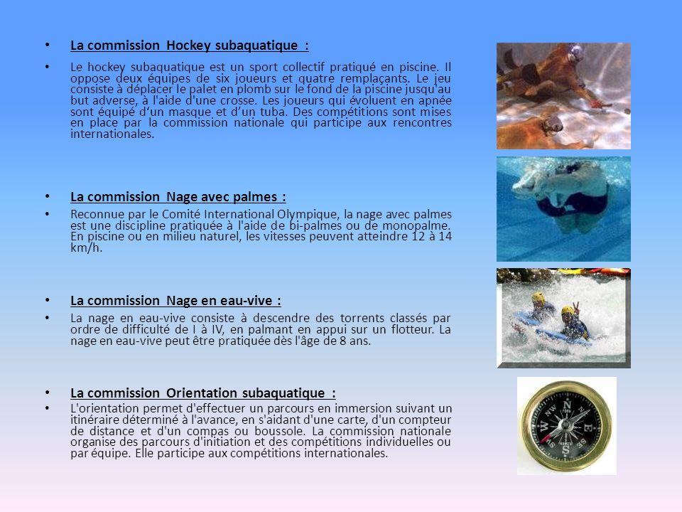 La commission Hockey subaquatique : Le hockey subaquatique est un sport collectif pratiqué en piscine. Il oppose deux équipes de six joueurs et quatre