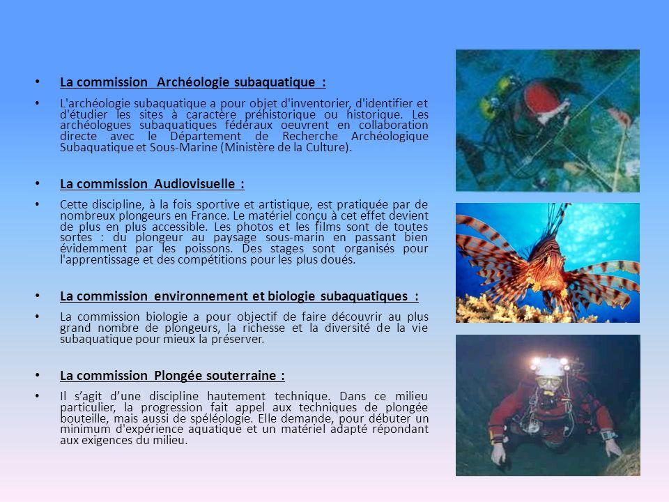 La commission Archéologie subaquatique : L archéologie subaquatique a pour objet d inventorier, d identifier et d étudier les sites à caractère préhistorique ou historique.