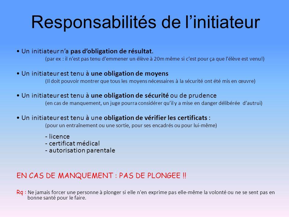 Responsabilités de linitiateur Un initiateur na pas dobligation de résultat. (par ex : il nest pas tenu demmener un élève à 20m même si cest pour ça q
