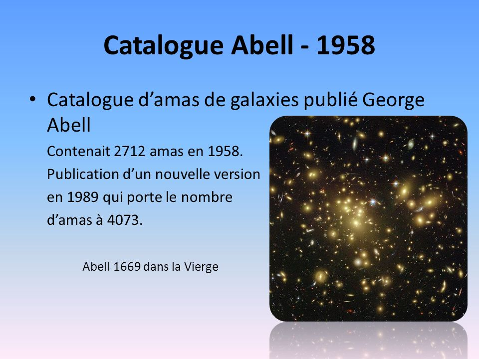 Catalogue Abell - 1958 Catalogue damas de galaxies publié George Abell Contenait 2712 amas en 1958.