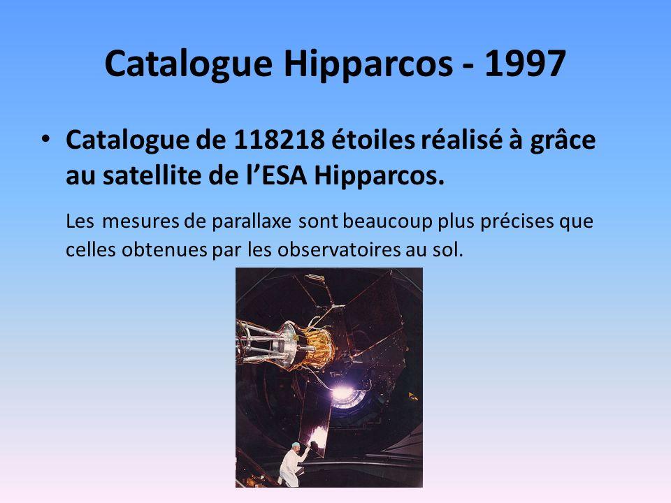 Catalogue Hipparcos - 1997 Catalogue de 118218 étoiles réalisé à grâce au satellite de lESA Hipparcos. Les mesures de parallaxe sont beaucoup plus pré