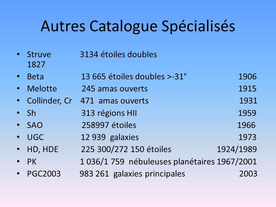 Autres Catalogue Spécialisés Struve 3134 étoiles doubles 1827 Beta 13 665 étoiles doubles >-31° 1906 Melotte 245 amas ouverts 1915 Collinder, Cr 471 a