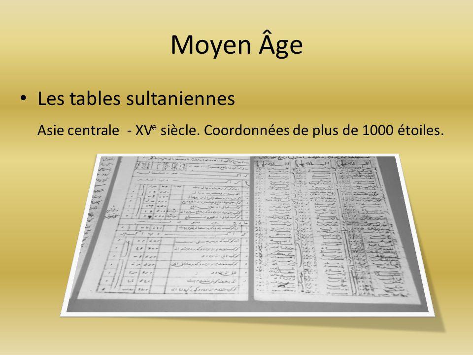Moyen Âge Les tables sultaniennes Asie centrale - XV e siècle. Coordonnées de plus de 1000 étoiles.