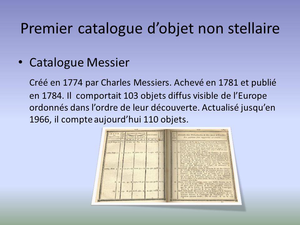 Premier catalogue dobjet non stellaire Catalogue Messier Créé en 1774 par Charles Messiers. Achevé en 1781 et publié en 1784. Il comportait 103 objets