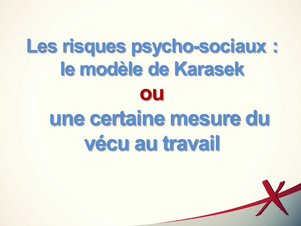 LE MODÈLE DE KARASEK Cest un instrument validé en épidémiologie (en anglais) Sumer a permis de le valider en français à travers les 26 premières questions de lautoquestionnaire (cf travail dI.