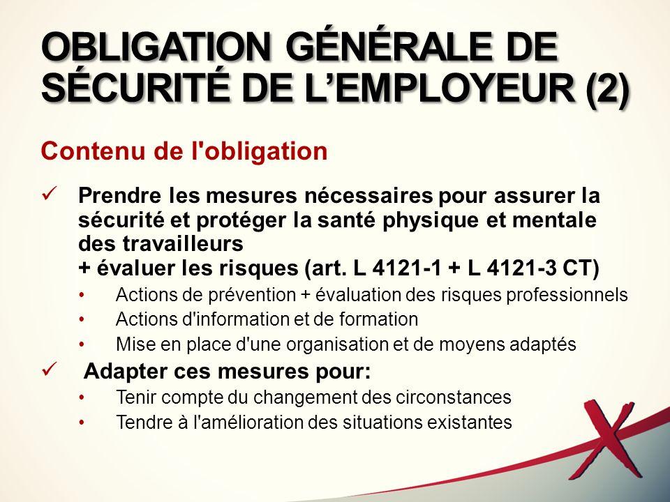 OBLIGATION GÉNÉRALE DE SÉCURITÉ DE LEMPLOYEUR (3) Portée de l obligation de l employeur Obligation de sécurité de résultat consacrée par la jurisprudence Pour les maladies professionnelles (C.