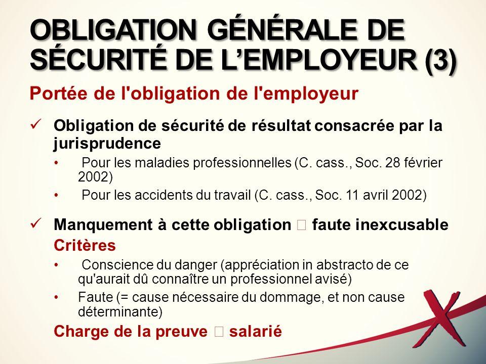 OBLIGATION GÉNÉRALE DE SÉCURITÉ DE LEMPLOYEUR (4) Document unique (art.