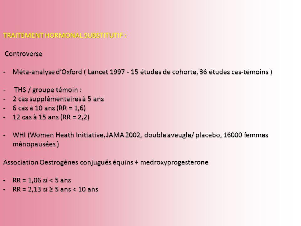 TRAITEMENT HORMONAL SUBSTITUTIF : Controverse Controverse -Méta-analyse dOxford ( Lancet 1997 - 15 études de cohorte, 36 études cas-témoins ) - THS /
