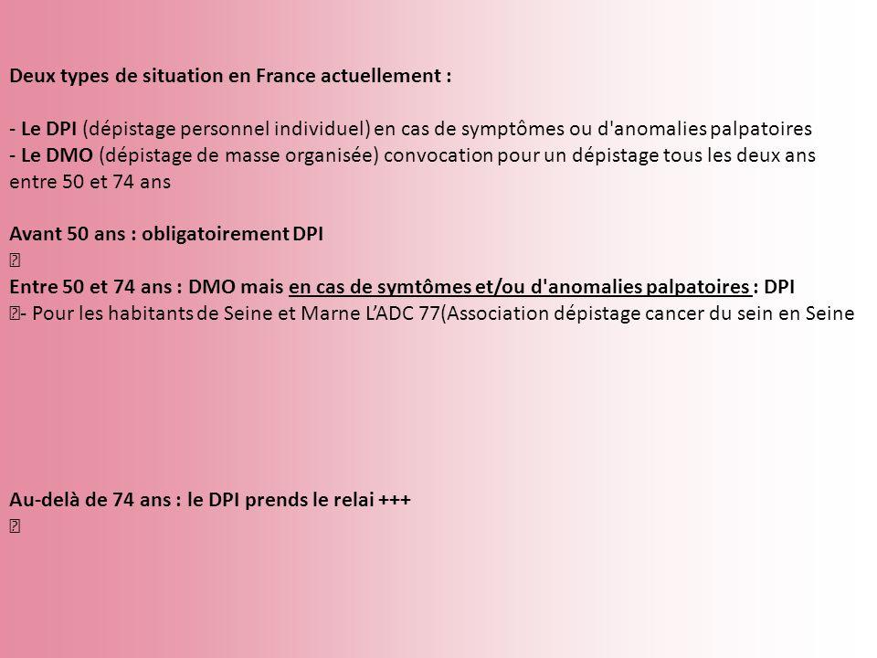 Deux types de situation en France actuellement : - Le DPI (dépistage personnel individuel) en cas de symptômes ou d'anomalies palpatoires - Le DMO (dé