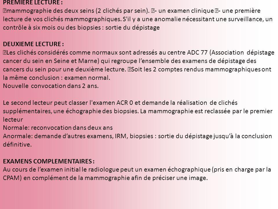 PREMIERE LECTURE : mammographie des deux seins (2 clichés par sein). - un examen clinique - une première lecture de vos clichés mammographiques. S'il