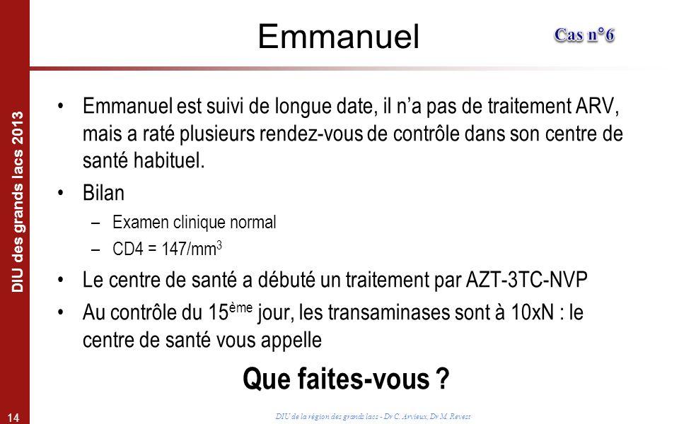 14 DIU des grands lacs 2013 DIU de la région des grands lacs - Dr C. Arvieux, Dr M. Revest Emmanuel Emmanuel est suivi de longue date, il na pas de tr