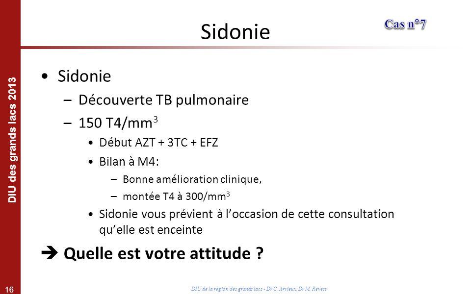 16 DIU des grands lacs 2013 DIU de la région des grands lacs - Dr C. Arvieux, Dr M. Revest Sidonie –Découverte TB pulmonaire –150 T4/mm 3 Début AZT +