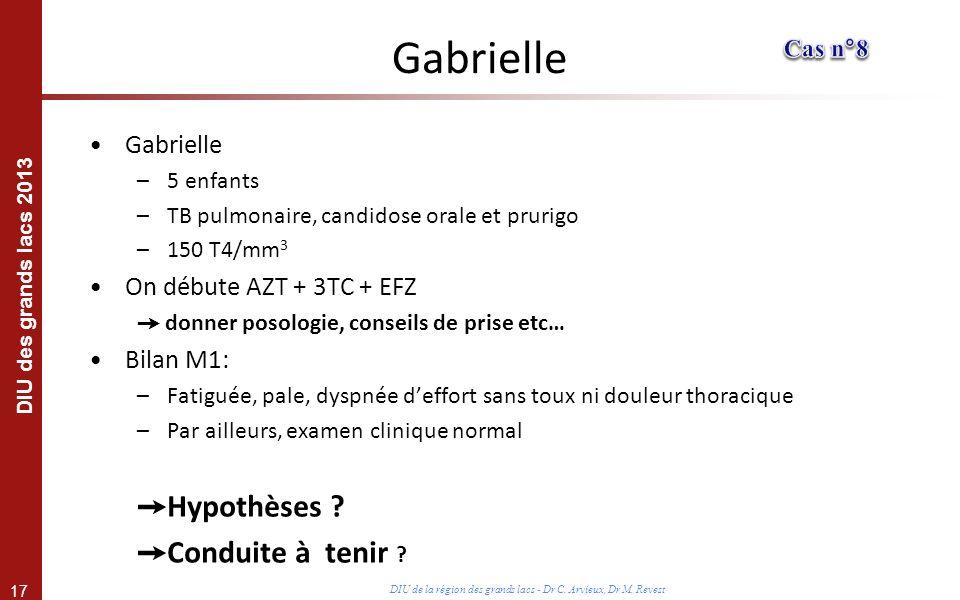 17 DIU des grands lacs 2013 DIU de la région des grands lacs - Dr C. Arvieux, Dr M. Revest Gabrielle –5 enfants –TB pulmonaire, candidose orale et pru