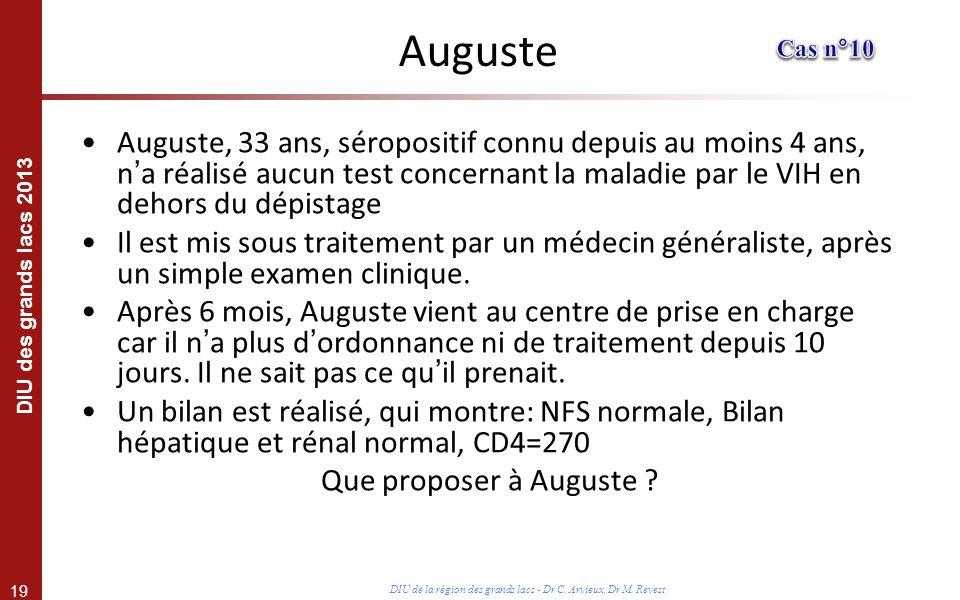 19 DIU des grands lacs 2013 DIU de la région des grands lacs - Dr C. Arvieux, Dr M. Revest Auguste Auguste, 33 ans, séropositif connu depuis au moins