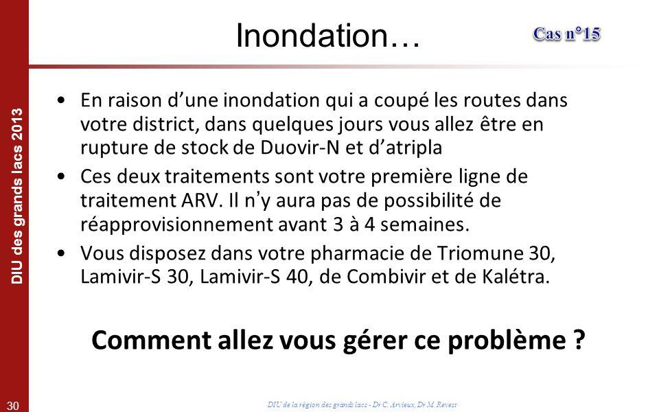 30 DIU des grands lacs 2013 DIU de la région des grands lacs - Dr C. Arvieux, Dr M. Revest Inondation… En raison dune inondation qui a coupé les route