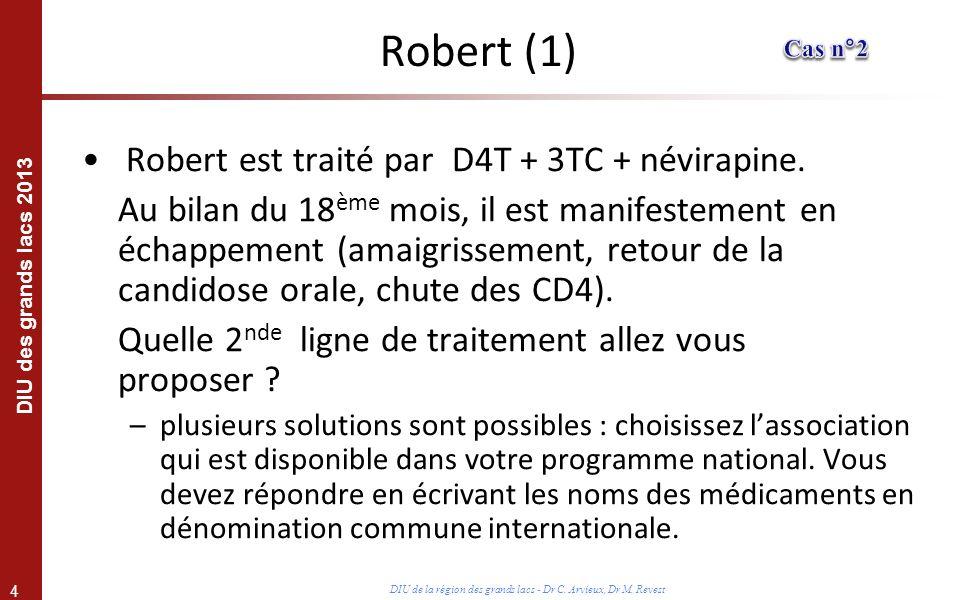 4 DIU des grands lacs 2013 DIU de la région des grands lacs - Dr C. Arvieux, Dr M. Revest Robert est traité par D4T + 3TC + névirapine. Au bilan du 18