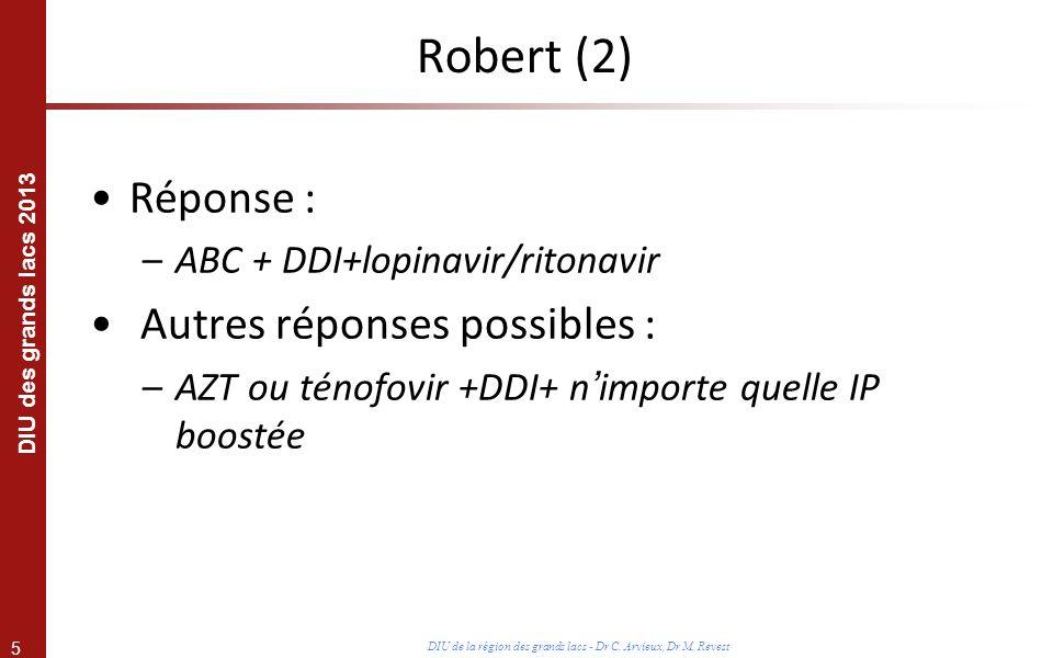 5 DIU des grands lacs 2013 DIU de la région des grands lacs - Dr C. Arvieux, Dr M. Revest Réponse : –ABC + DDI+lopinavir/ritonavir Autres réponses pos