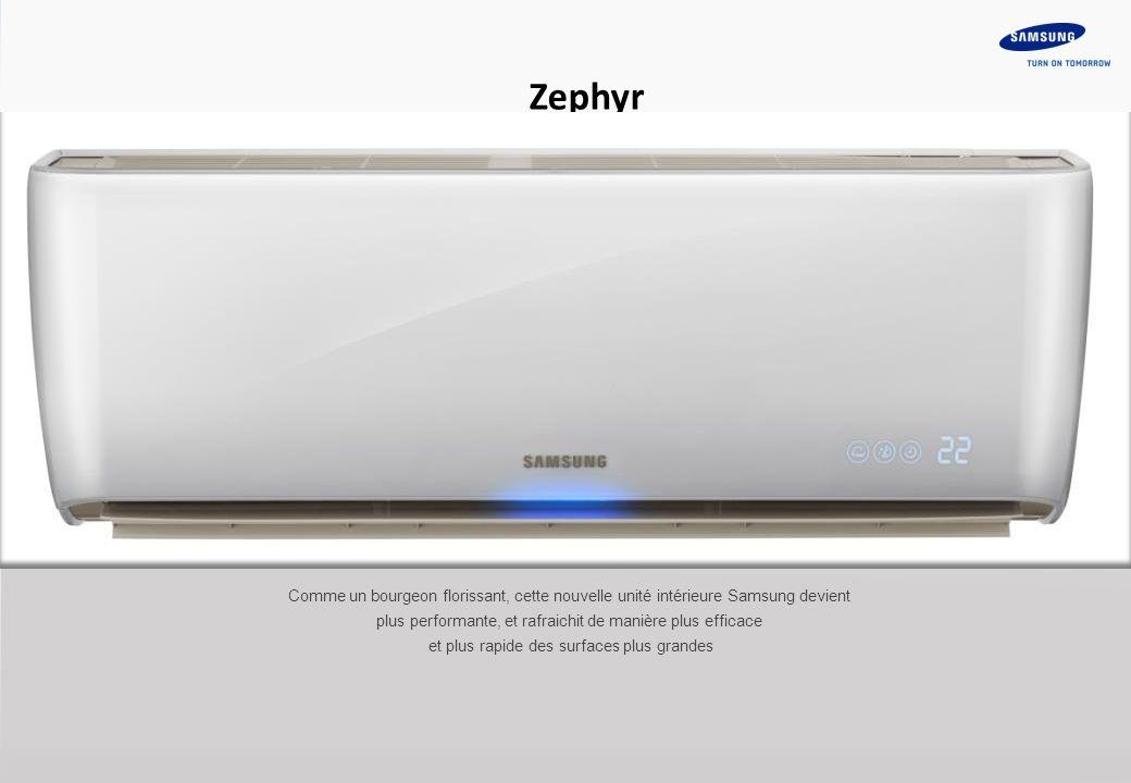 3 Zephyr Comme un bourgeon florissant, cette nouvelle unité intérieure Samsung devient plus performante, et rafraichit de manière plus efficace et plus rapide des surfaces plus grandes