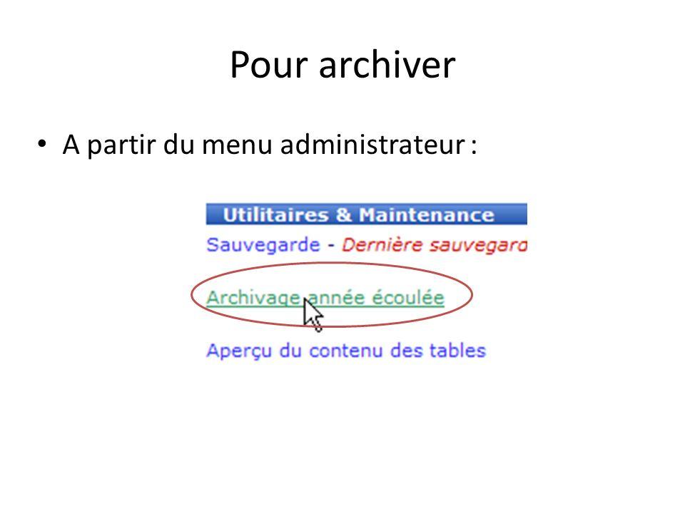 Pour archiver A partir du menu administrateur :