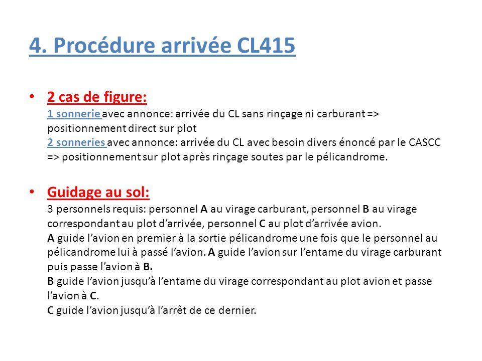 4. Procédure arrivée CL415 2 cas de figure: 1 sonnerie avec annonce: arrivée du CL sans rinçage ni carburant => positionnement direct sur plot 2 sonne