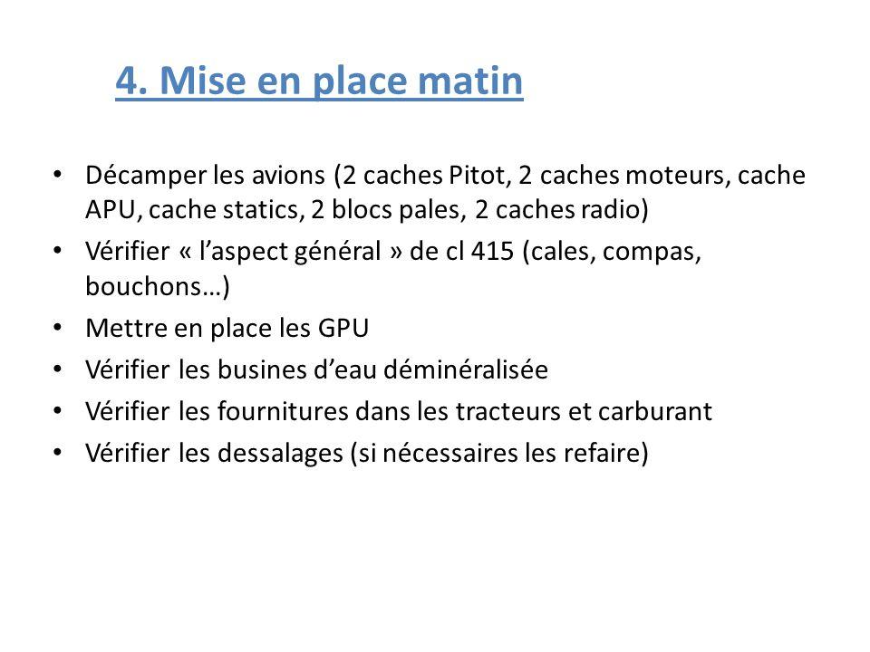 4. Mise en place matin Décamper les avions (2 caches Pitot, 2 caches moteurs, cache APU, cache statics, 2 blocs pales, 2 caches radio) Vérifier « lasp